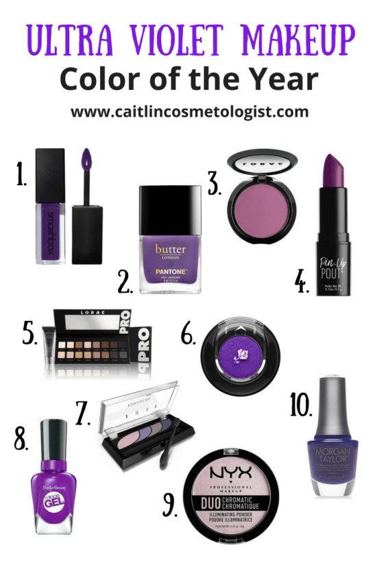 Ultra Violet Makeup | Eyes | Products | Nail Polish | Lip Gloss | Pantone Color of the Year | Caitlin Cosmetologist