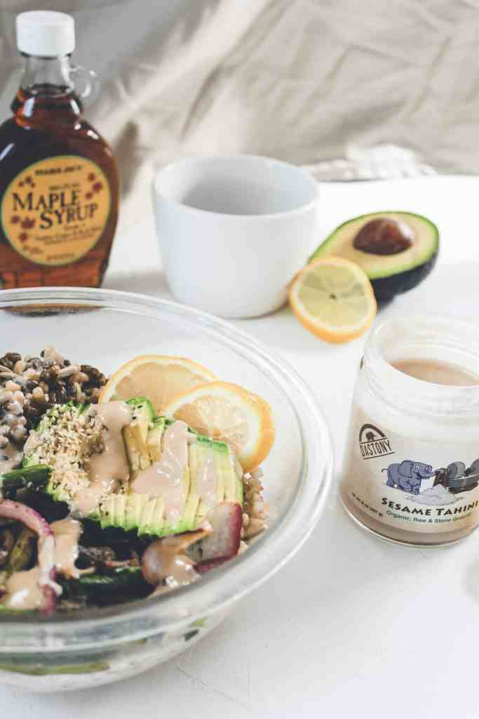 This gluten free & vegan maple tahini dressing is the perfect finishing touch for any vegan buddha bowl, your favorite salad, or a bed of veggies!