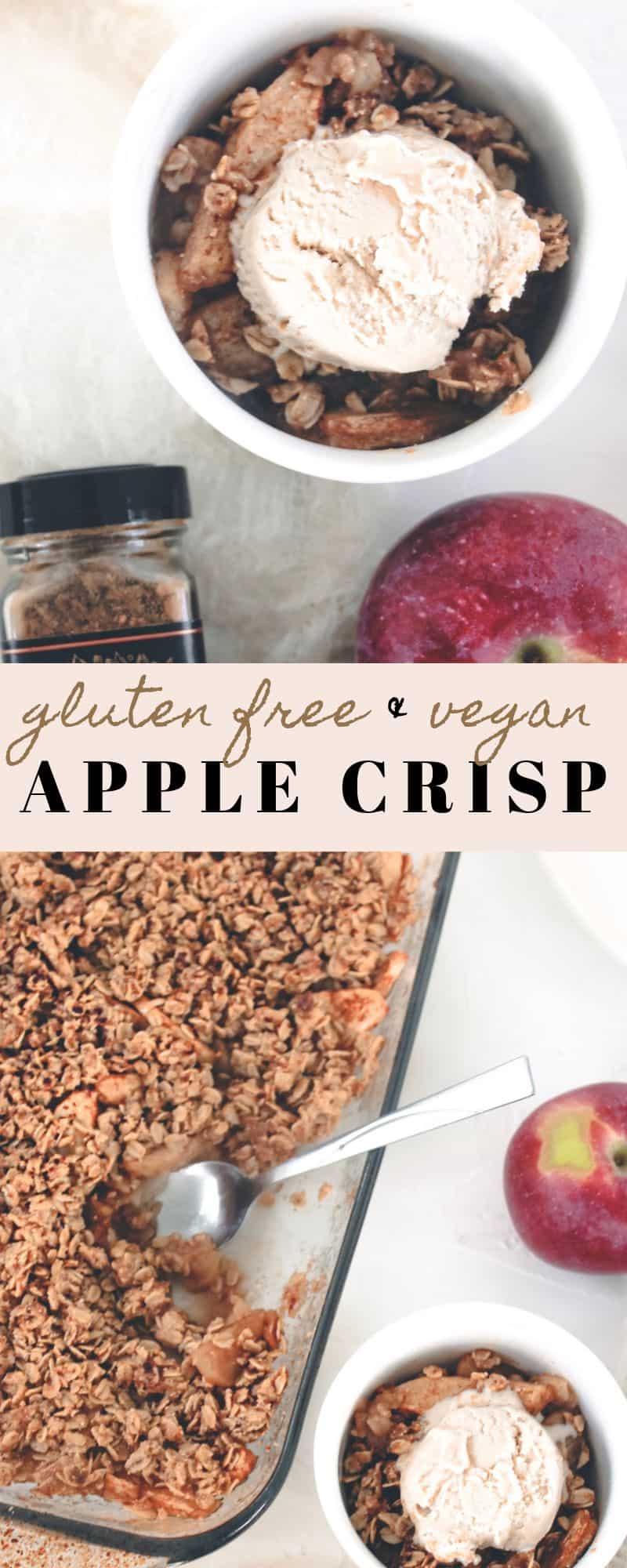 Sharing my ultimate favorite fall dessert - vegan & gluten free apple crisp, made with crisp apples, lots of cinnamon, oats, & cassava flour!