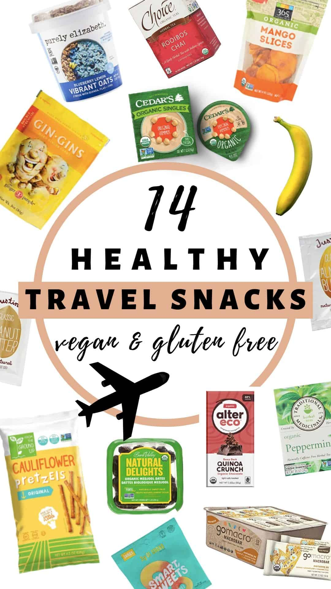 Sharing 14 healthy snacks for long flights, all gluten free, vegan, & TSA approved to keep you full throughout your travel day!