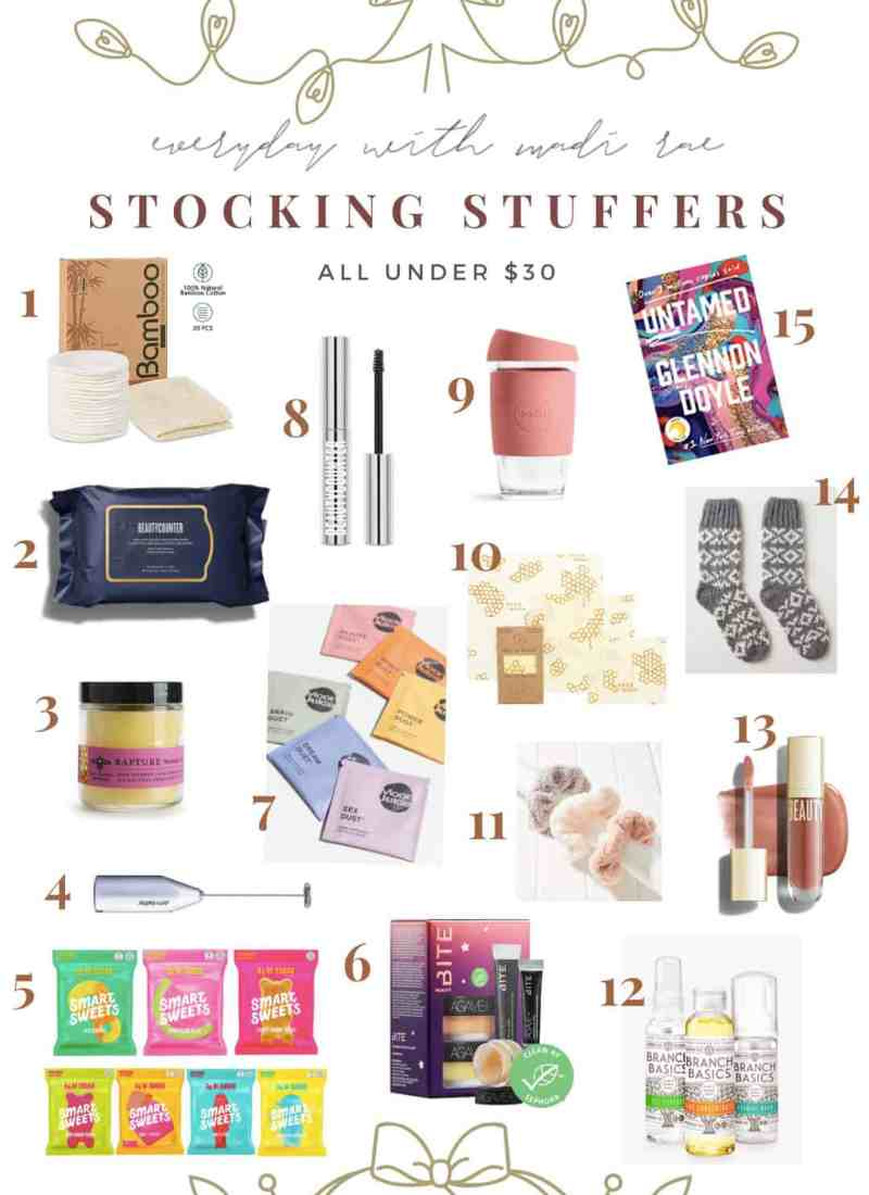 Sharing my 2020 Stocking Stuffer Gift Guide featuring 15 awesome gift ideas to add onto a larger gift or throw in a stocking, all under $30!