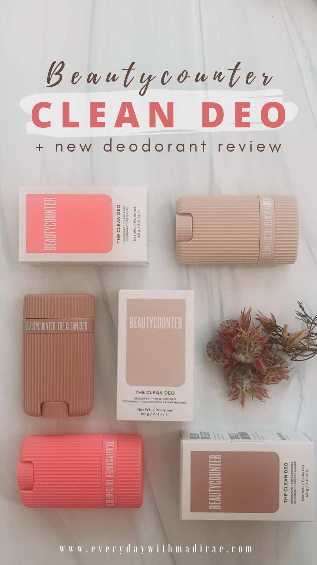 Sharing my honest review of Beautycounter's new Clean Deo..a clean, refillable, deodorant option, available in three beautiful scents!