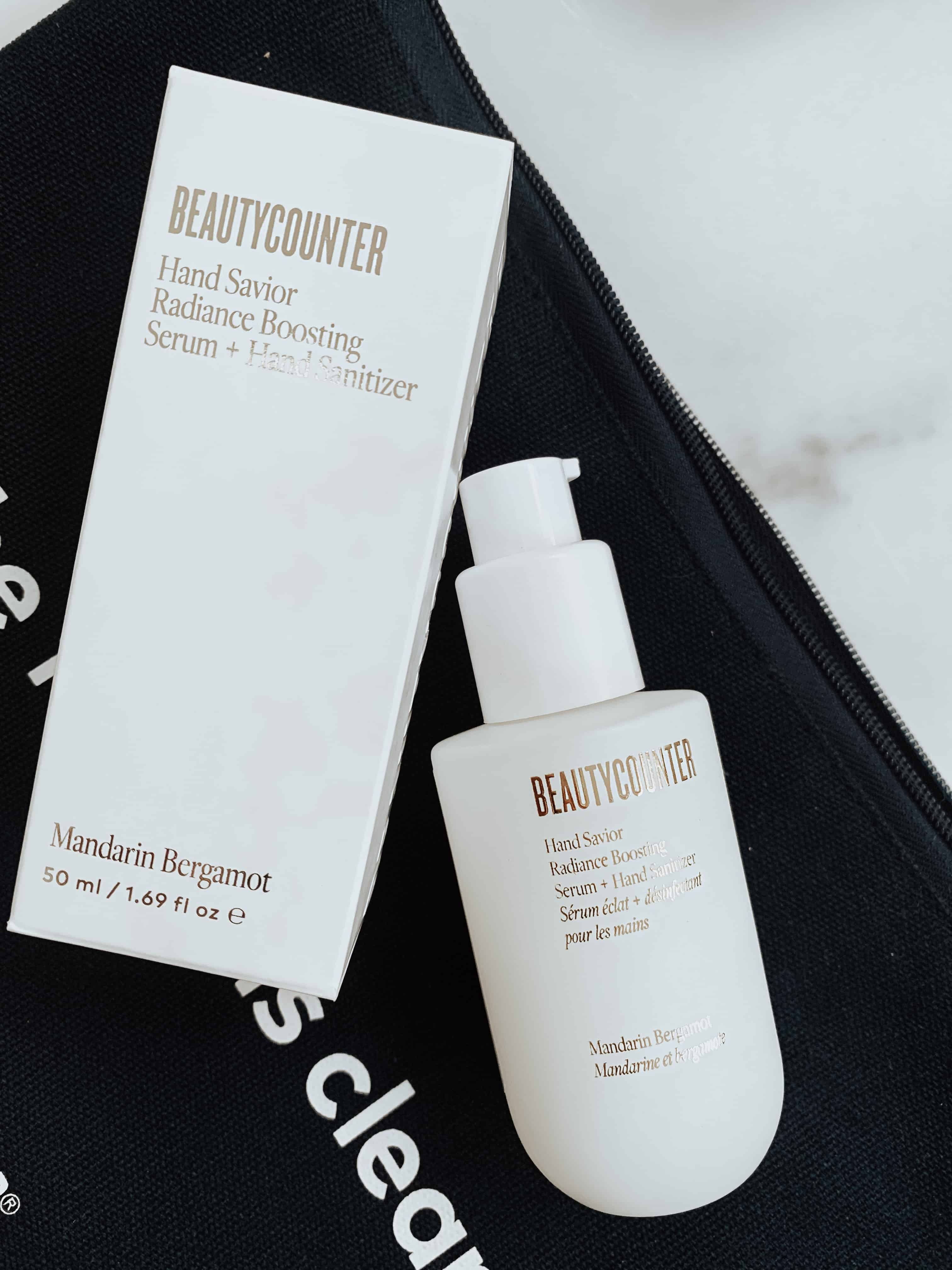 Beautycounter's new Hand Savior Radiance Serum + Hand Sanitizer product and packaging.