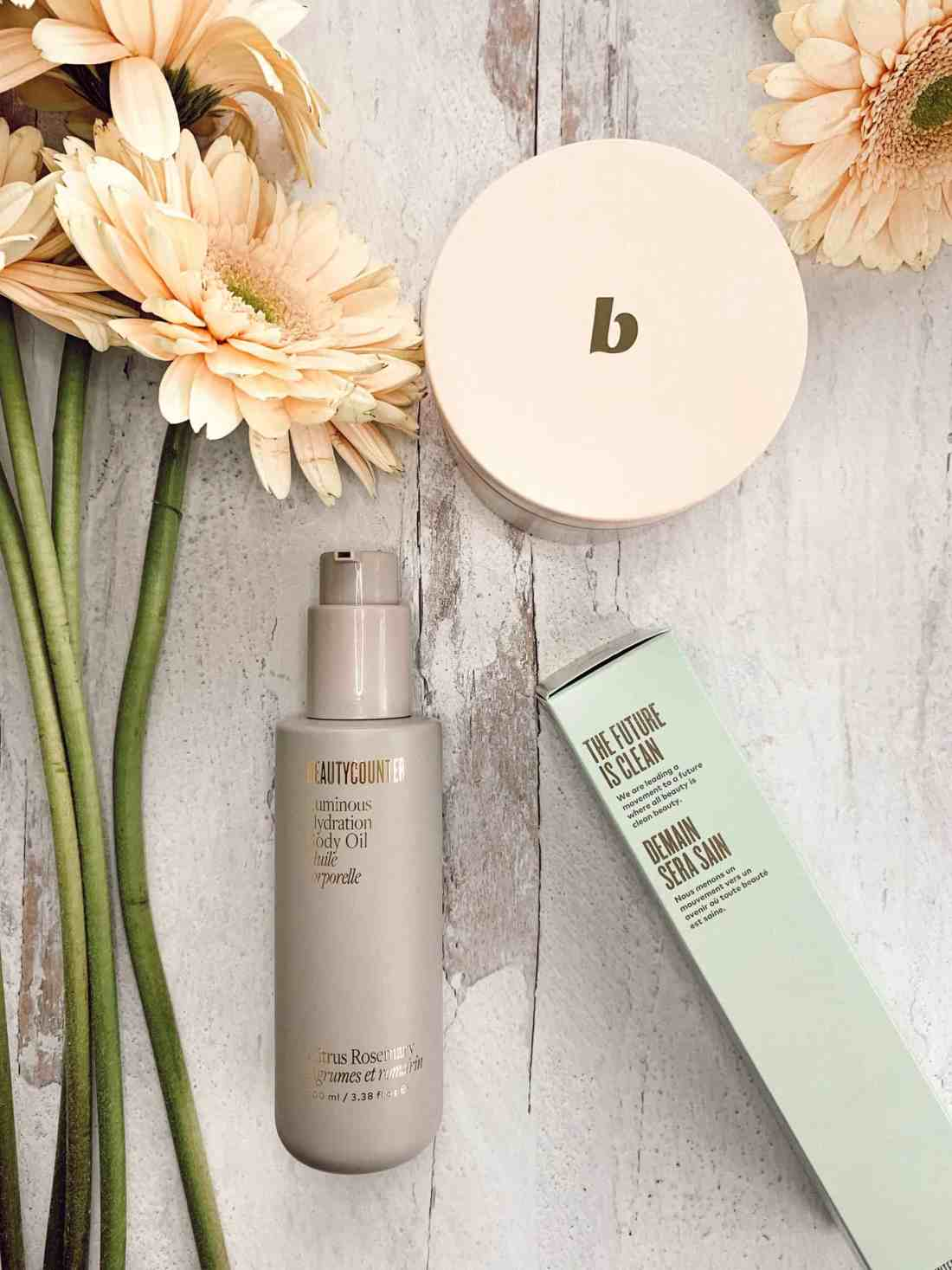 Flat lay of Beautycounter's new repackaged body products.