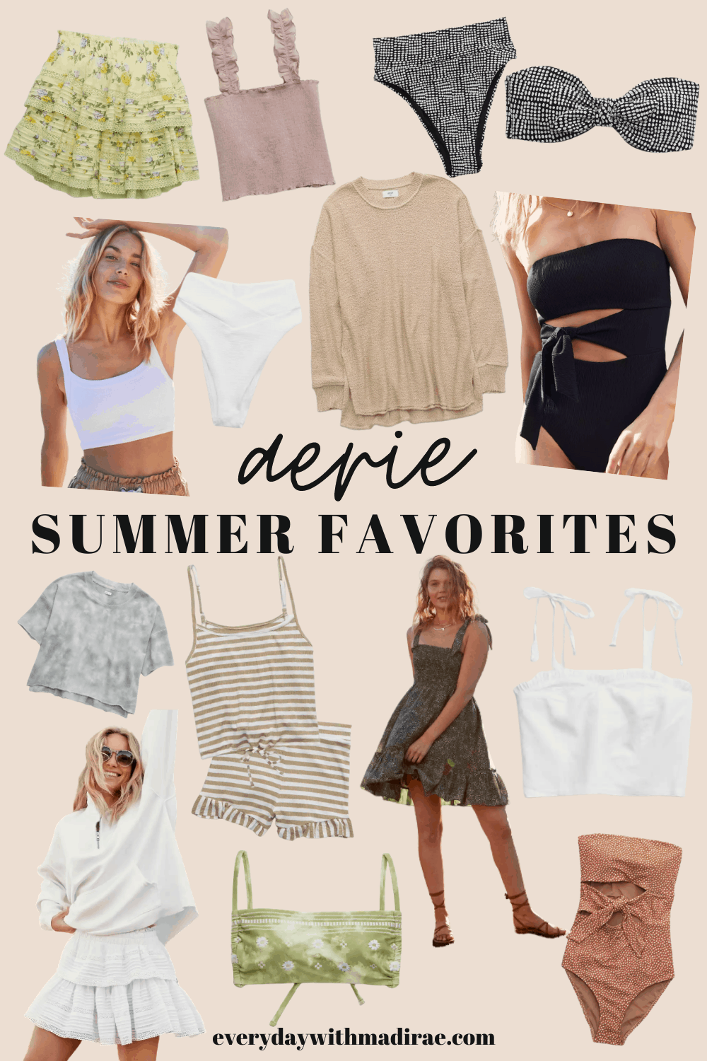 Collage of Aerie summer clothes.