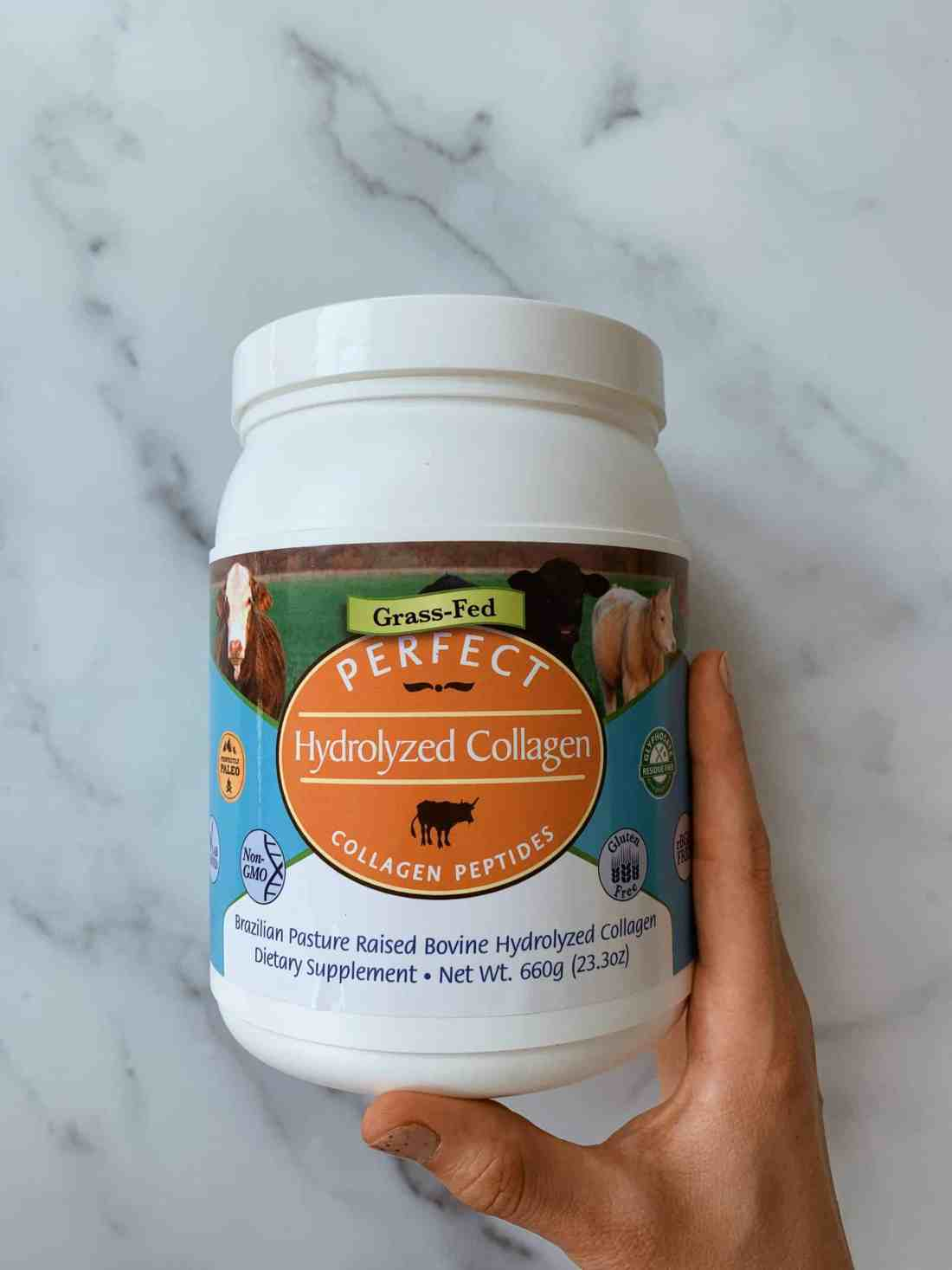 A container of Perfect Hydrolyzed Collagen.