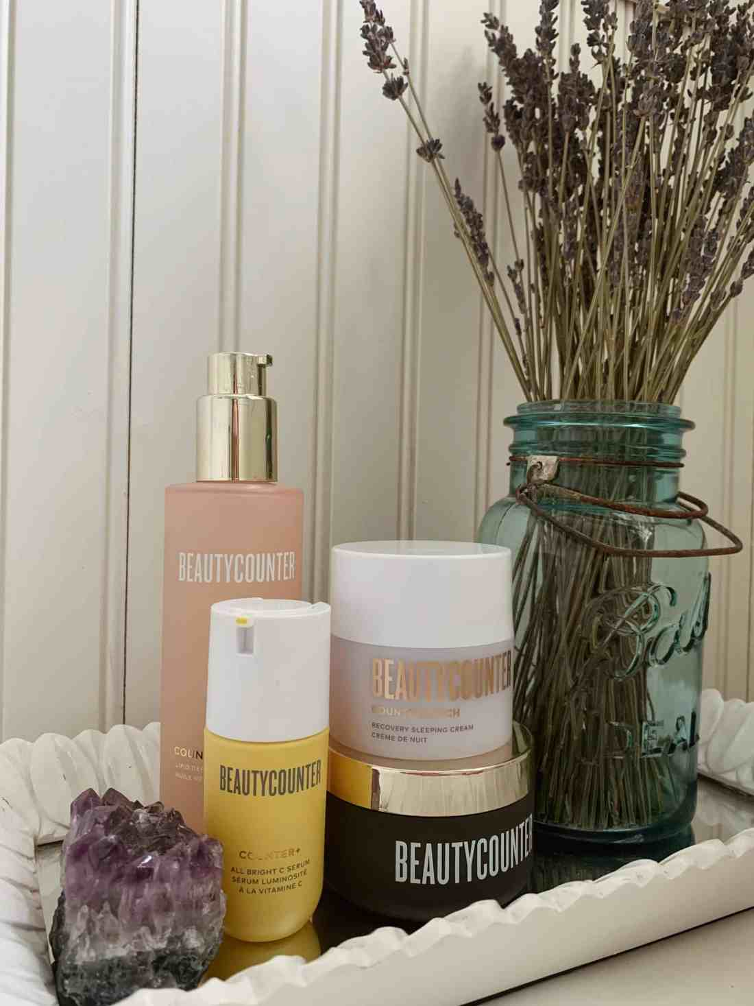 A variety of Beautycounter products on display.