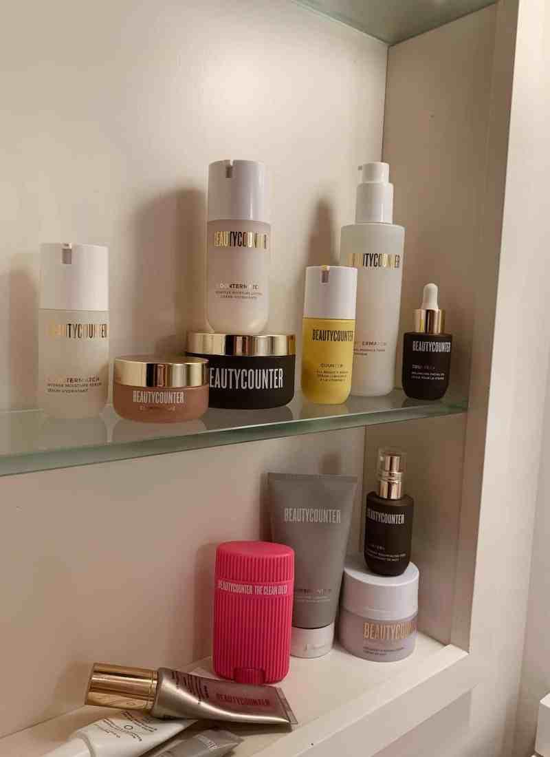 Beautycounter on a shelf.