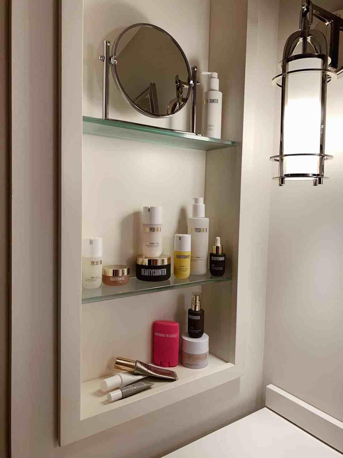 Beautycounter skincare products on a shelf