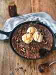Fudgy and delicious cast iron brownie skillet. One bowl, super easy and mixer free!