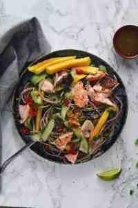 Sesame Salmon Soba Noodle Salad. A delicious, healthy Chrissy Teigen Recipe. www.everylilcrumb.com