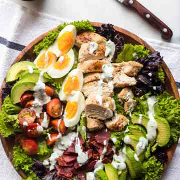 Chicken Cobb Salad with Healthier Homemade Ranch Dressing