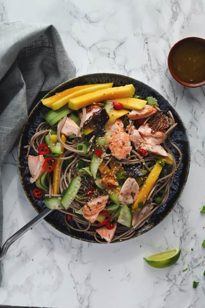 Sesame Salmon Soba Noodle Salad. A delicious, healthy Chrissy Teigen Recipe. www.everylittlecrumb.com