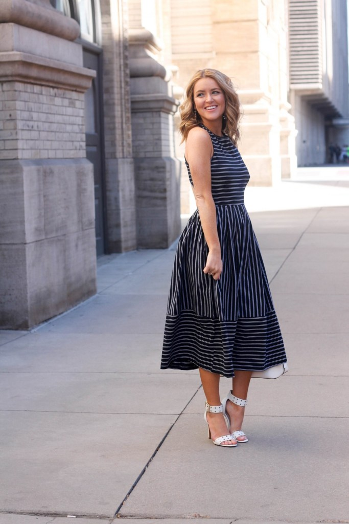 backless stripped skater dress