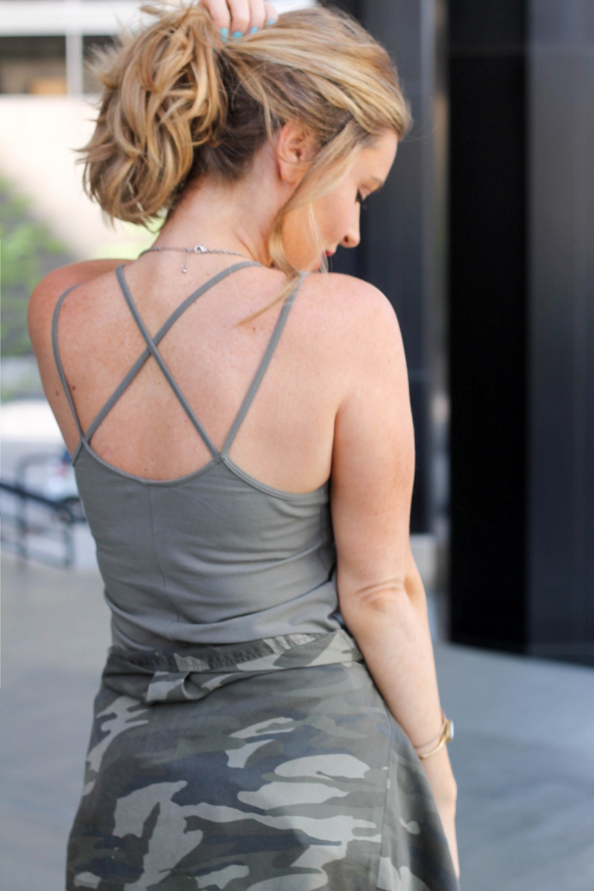 criss cross back army green dress