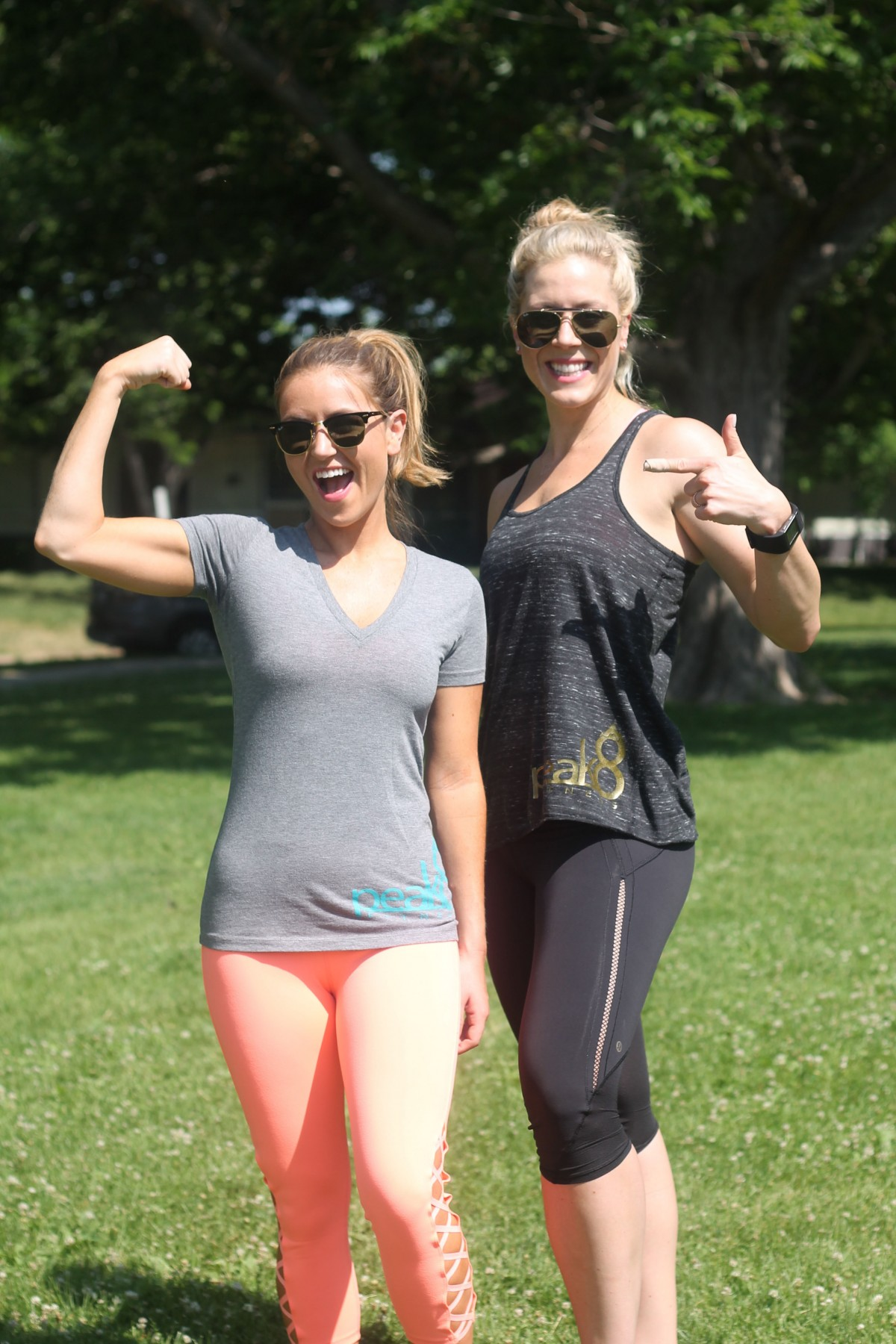 Amber from Every Once In a style and Niccole from peak 8 fitness showing off ambers fitness progress
