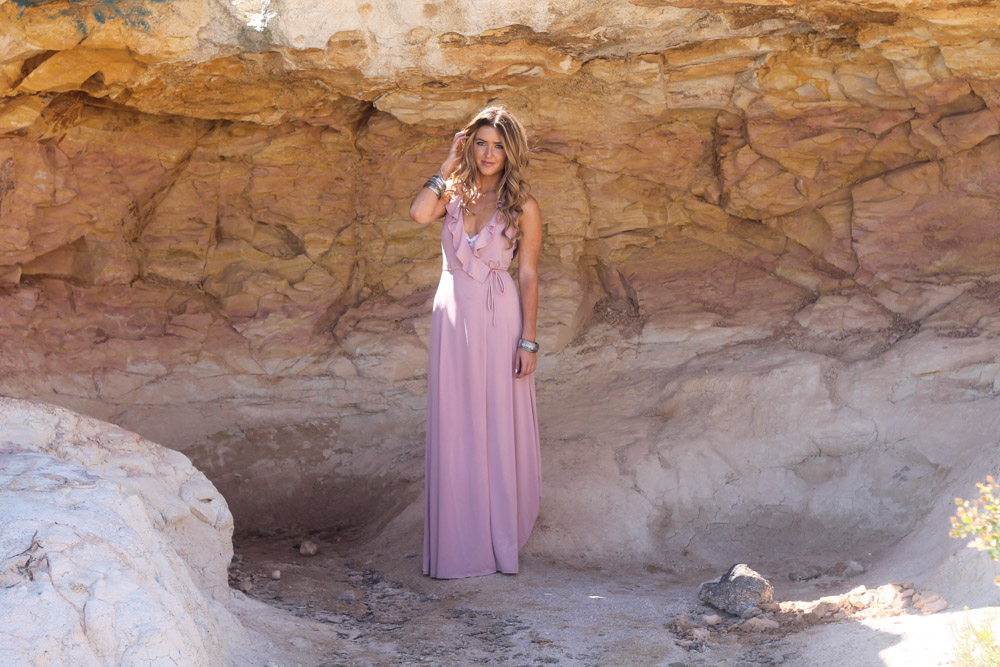 amber from every once in a style wearing a Forever 21 pink ruffle maxi dress and frye boots at the Paint Mines