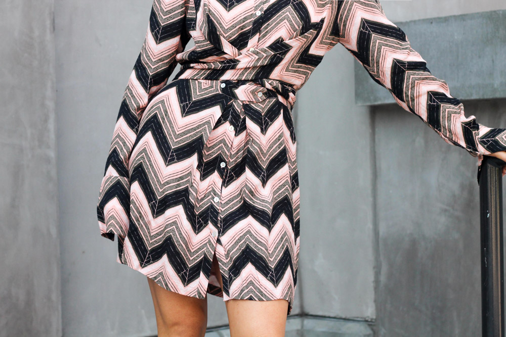 Free People chevron print wrap shirt dress