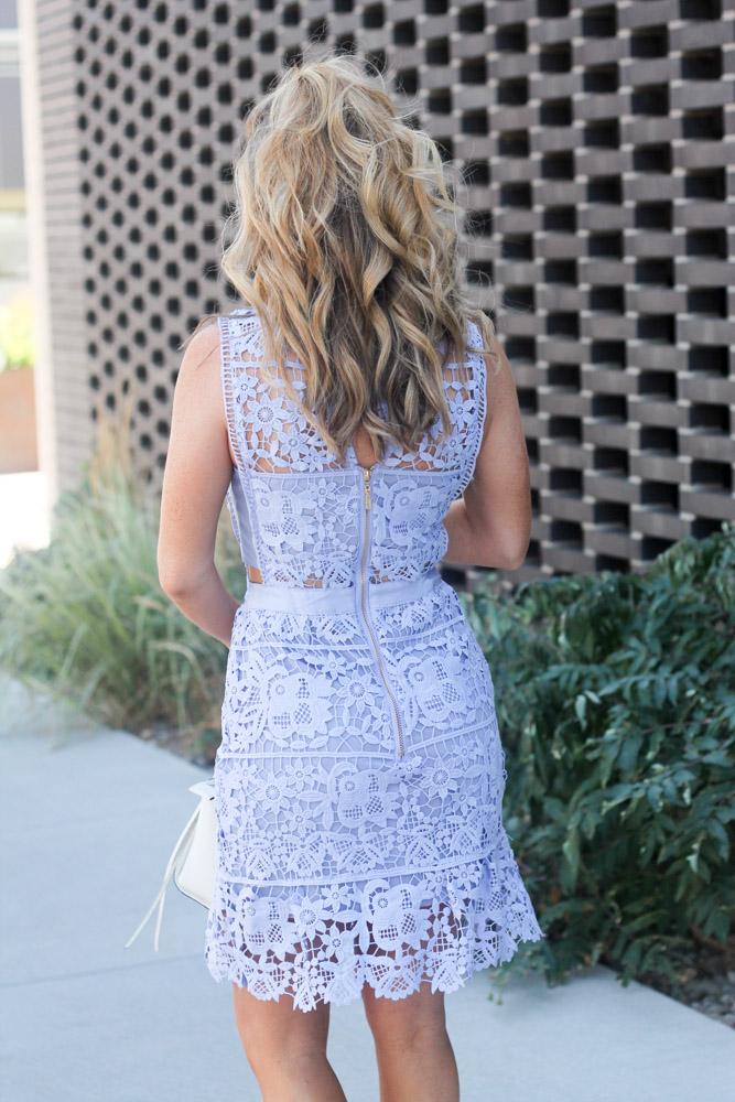 Hair by Matthew Morris salon denver Blue Side Hollow Lace A-Line Dress