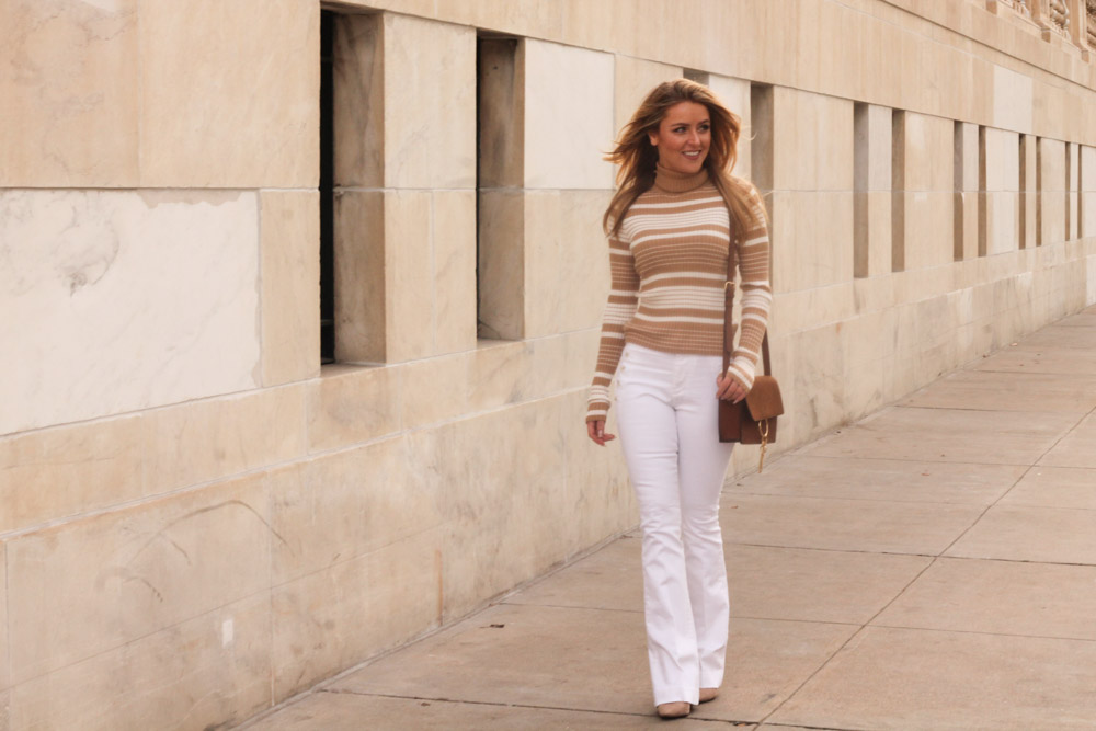 Amber from Every Once in a Style is wearing Sailor Flare jean from Banana Republic