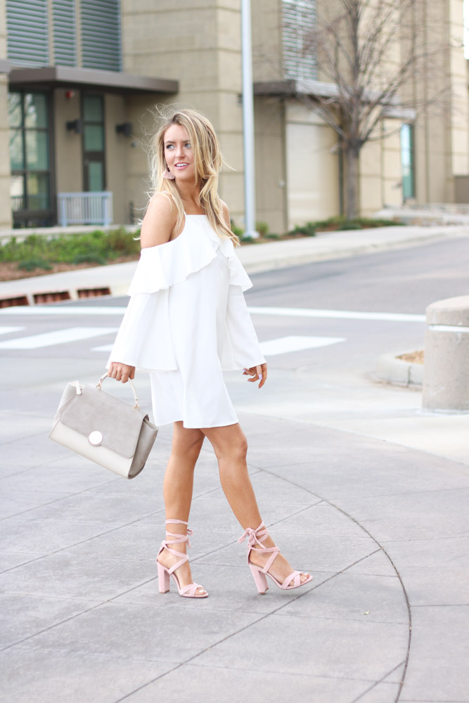 Nude satchel and pink heels