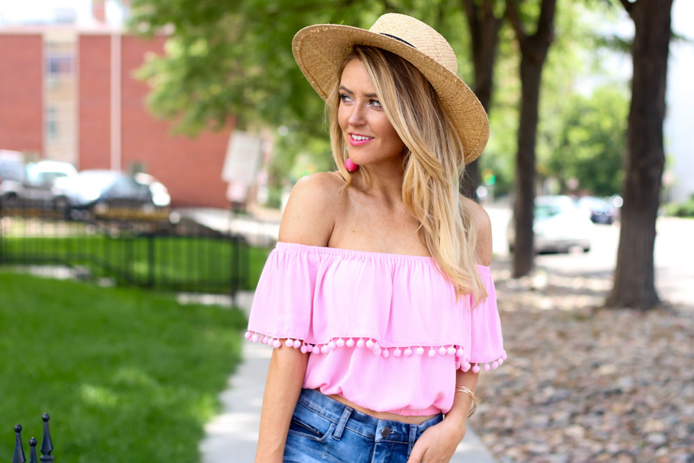 Off the shoulder pom pom top | denim shorts | straw boater hat | ball drop earrings