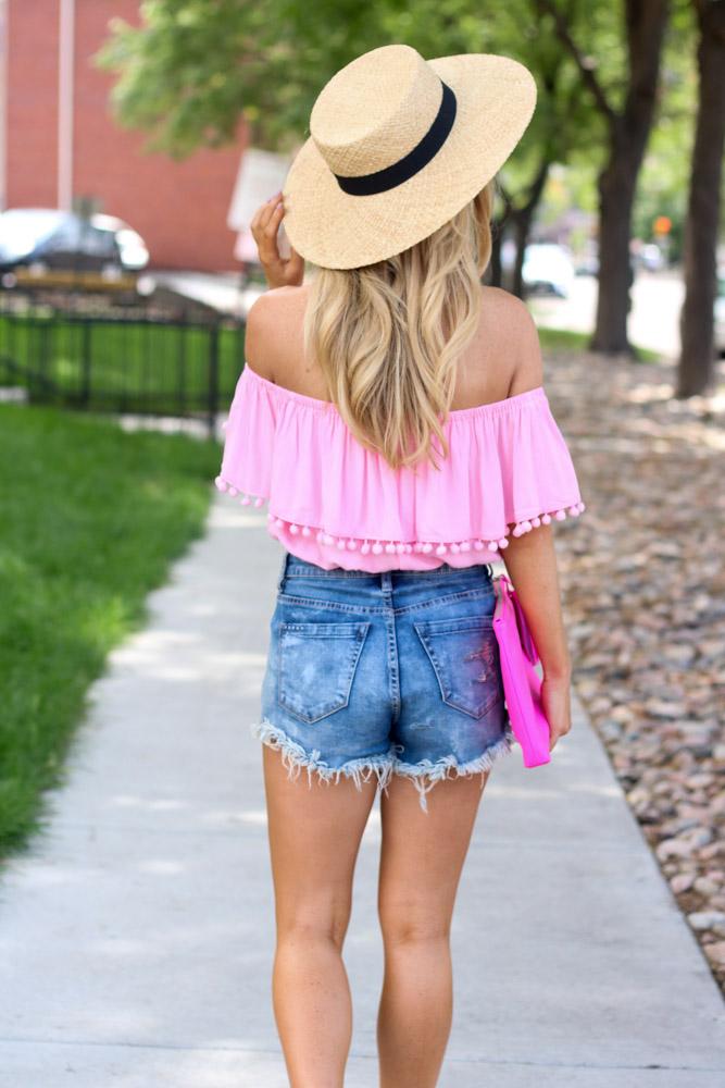 Off the shoulder pom pom top | denim shorts | espadrille sandals | straw boater hat