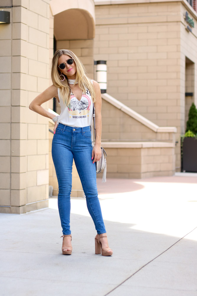 denim jeans | graphic t shirt