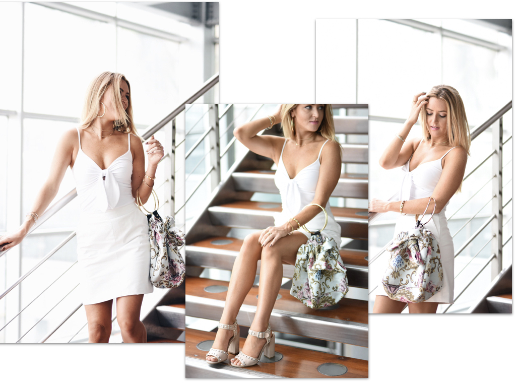 faux white leather skirt// studded heels//tapestry bag//panama fashion week