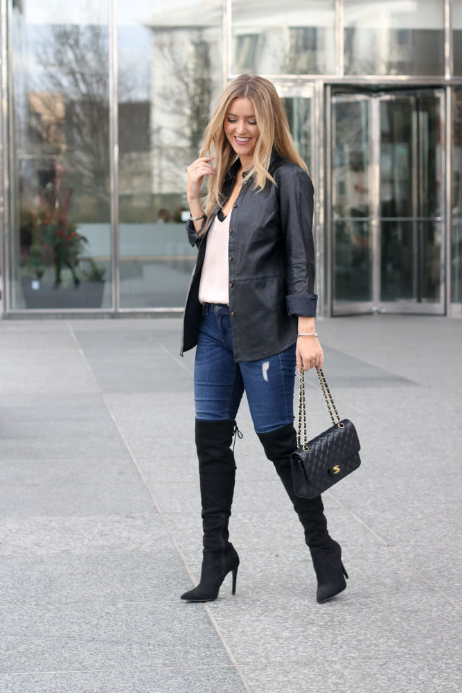 amber from every once in a style is wearing a leather jacket from banana republic and joe jeans