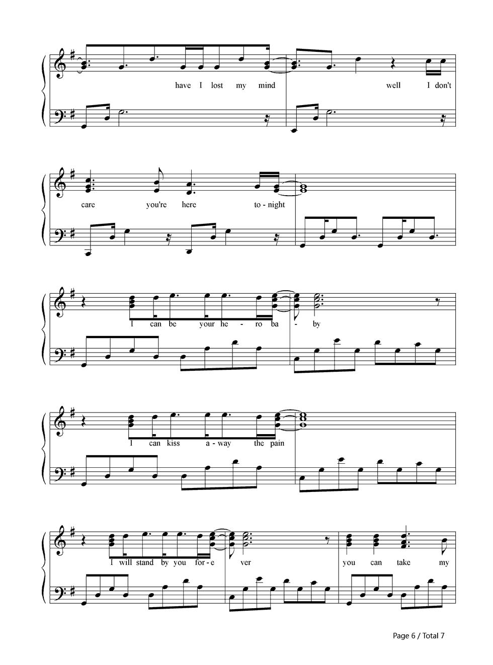 Hero Enrique Iglesias Sheet Music