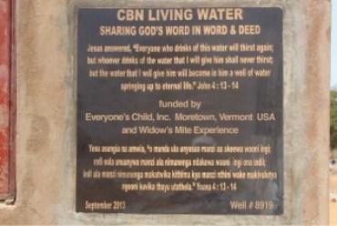 CBN Living Water Plaque in Kampi Ya Moto