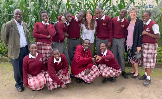 EC-sponsored Kenyan students with Ruth, Tracy and William Aludo