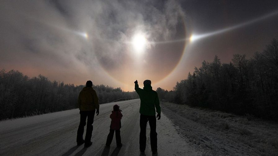 The circle around the sun is a 22° circular halo