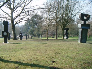 A view across some sculptures in the Yorkshire Sculpture Park.