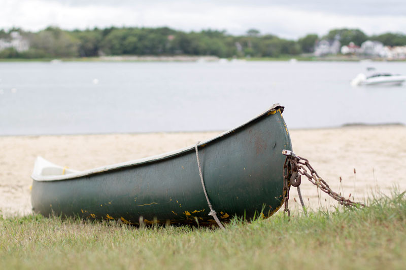 canoe on onset beach