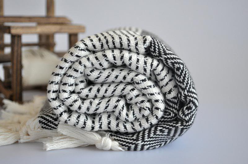 black + white turkish towel