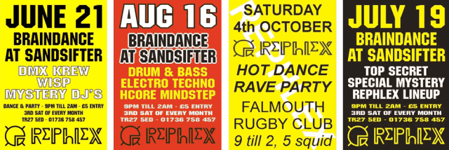 Old Rephlex rave flyers