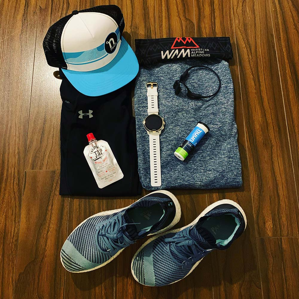 Running gear laid out for First Half Half Marathon, Vancouver