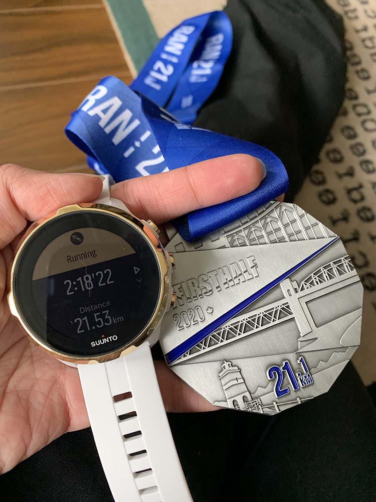 Suunto Spartan Sport and First Half Half Marathon medal