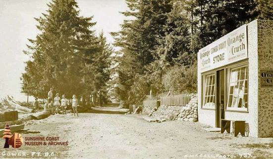 A Helen McCall image taken in the 1930s of Harry and Florence Chaster's store on Gower Point Road across from the mouth of Chaster Creek. The store served summer visitors who arrived on Union Steamship Company vessels, which docked at an offshore government float. Photo courtesy of the Sunshine Coast Museum and Archives.