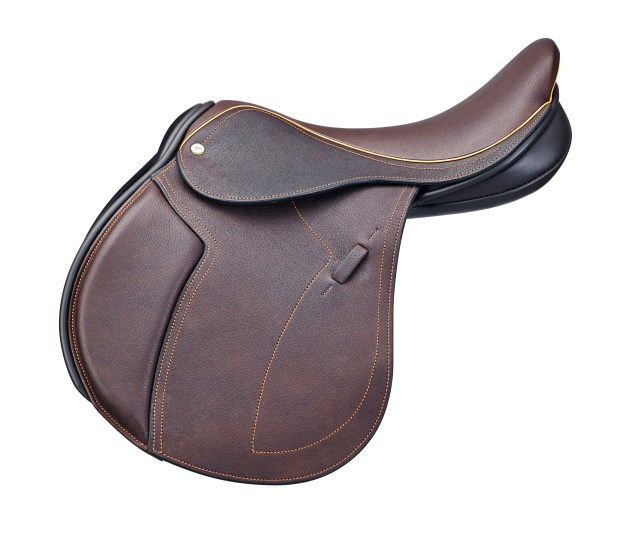A jumping saddle, the knee roll is cut differently from the GP saddle