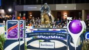 Kevin Staut and Reveur de Hurtebise HDC won the nail-biting last leg of the Longines FEI World Cup™ Jumping 2015/2015 Western European League on home ground in Bordeaux (FRA) tonight. (FEI/Eric Knoll)