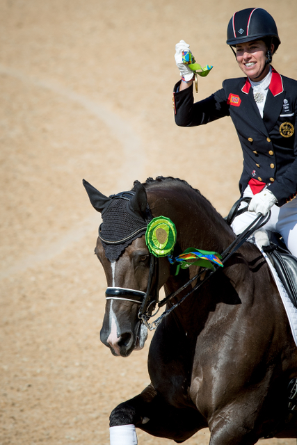 Great Britain's Charlotte Dujardin and Valegro secured their second successive individual Olympic Dressage title when winning the Freestyle today. (Dirk Caremans/FEI)