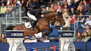 Germany's Marcus Ehning produced a breath-taking jump-off round with the stallion Comme Il Faut to win the sixth leg of the Longines FEI World Cup™ Jumping 2016/2017 Western European League in Madrid, Spain today. (Hervé Bonnaud/FEI)