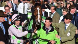 2015 Cheltenham winner's enclosure (left to right): trainer Willie Mullins, jockey Ruby Walsh, Faugheen, groom John Codd, owner Rich Ricci