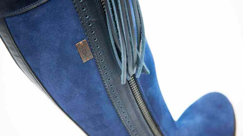 Bespoke Boots from The Spanish Boot Company Blue Suede With leather Detail