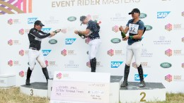 Podium position Micheal Jung, Karim Florent Laghouag and Oliver Townend. Photo credit: Eventridermasters.tv / Ben Clarke.