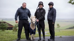 L-R World Horse Welfare's Alan Cooper, Pamela, AP McCoy and World Horse Welfare groom, Becca Hatcher