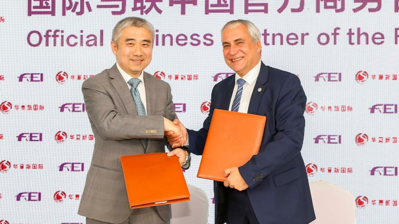 The Fédération Équestre Internationale (FEI), the world governing body for equestrian sport, has announced a brand new partnership with China National Sports International (CNSI), a sports and entertainment company that specialises in equestrian sports in China. Pictured left to right: Sun Liming, Executive Director of China National Sports International with FEI President Ingmar De Vos. (FEI/Yuanpu Xia)